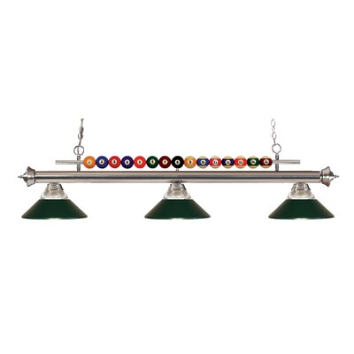Chapa 3-Light Billiard Light Finish: Brushed Nickel, Shade Color: Clear / Dark Green