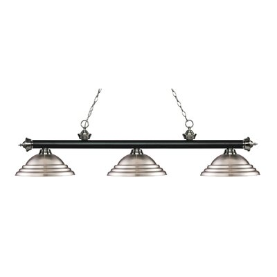 Zephyr 3-Light Cone Shade Billiard Light Finish: Matte Black / Brushed Nickel, Shade Color: Brushed Nickel