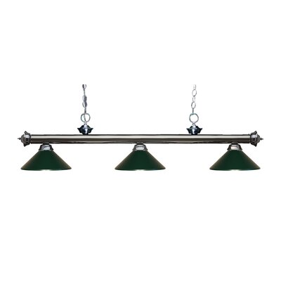 Zephyr Traditional 3-Light Billiard Light Finish: Gun Metal, Shade Color: Dark Green