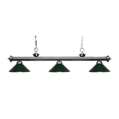 Zephyr Traditional 3-Light Billiard Light Shade Color: Dark Green, Finish: Gun Metal