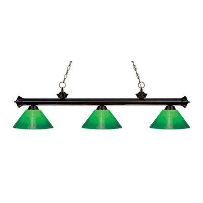 Zephyr Traditional 3-Light Cone Glass Shade Billiard Light Finish: Bronze, Shade Color: Green Cased, Size: 15 H x 57 W x 14 D