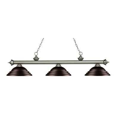 Zephyr 3-Light Cone Shade Billiard Light Finish: Antique Silver, Shade Color: Bronze