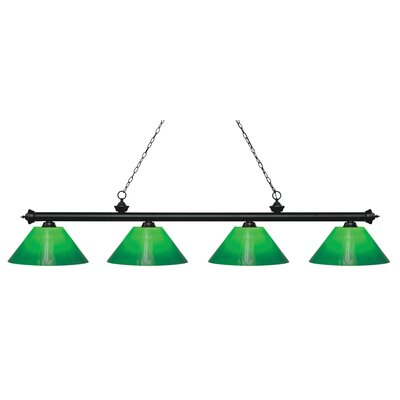 Zephyr Contemporary 4-Light Steel Billiard Light Finish: Matte Black, Shade Color: Green Cased, Size: 13.75 H x 80.5 W x 14 D