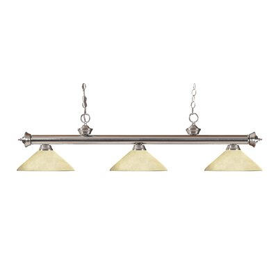 Zephyr Modern 3-Light Bell Shade Billiard Light Shade Color: Golden Mottle, Finish: Brushed Nickel