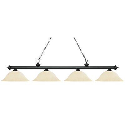 Riviera 4-Light Billiard Light Shade Color: Golden Mottle, Size: 12.5 H x 82.5 W x 16 D, Finish: Matte Black