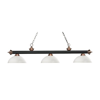 Zephyr Traditional 3-Light Bowl Glass Shade Billiard Light Finish: Matte Black / Antique Copper, Shade Color: Matte Opal