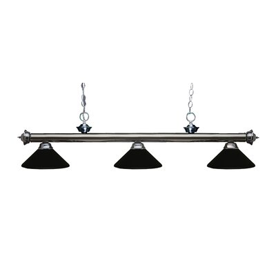 Zephyr Traditional 3-Light Billiard Light Shade Color: Matte Black, Finish: Gun Metal