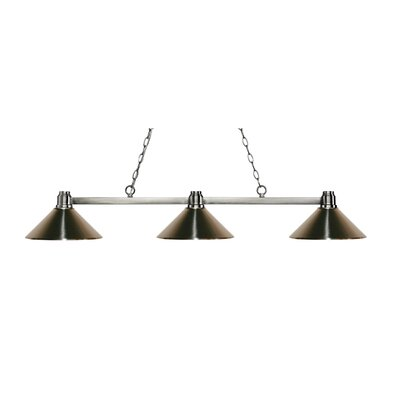 Centeno 3-Light Billiard Light Finish: Brushed Nickel, Shade Color: Brushed Nickel
