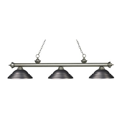 Zephyr 3-Light Cone Shade Billiard Light Finish: Antique Silver, Shade Color: Olde Bronze