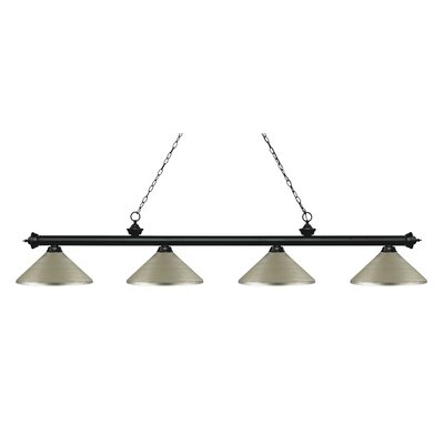 Zephyr 4-Light Cone Metal Shade Billiard Light Finish: Matte Black, Shade Color: Antique Silver