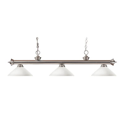 Zephyr Modern 3-Light Bell Shade Billiard Light Finish: Brushed Nickel, Shade Color: Matte Opal