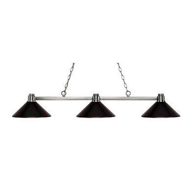 Centeno 3-Light Billiard Light Finish: Brushed Nickel, Shade Color: Bronze