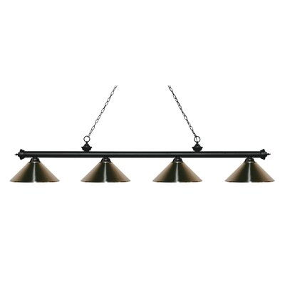 Zephyr 4-Light Cone Metal Shade Billiard Light Shade Color: Brushed Nickel, Finish: Matte Black