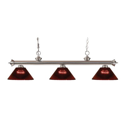 Zephyr Contemporary 3-Light Cone Shade Billiard Light Finish: Brushed Nickel, Shade Color: Burgundy