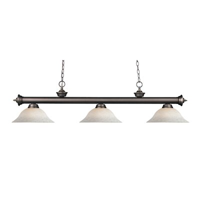 Zephyr Contemporary 3-Light Steel Billiard Light Shade Color: White Mottle, Finish: Olde Bronze