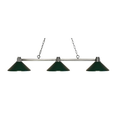 Centeno 3-Light Billiard Light Finish: Brushed Nickel, Shade Color: Dark Green