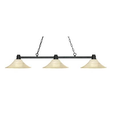 Centeno 3-Light Billiard Light Finish: Bronze, Shade Color: Fluted Golden Mottle