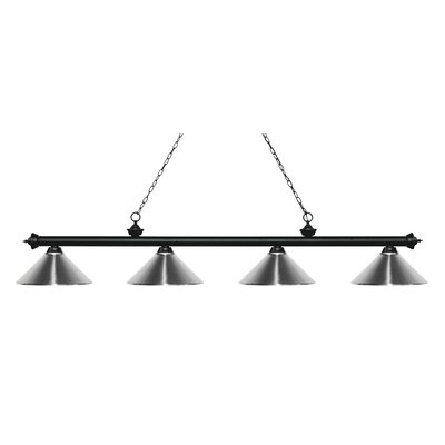 Zephyr 4-Light Cone Metal Shade Billiard Light Finish: Matte Black, Shade Color: Chrome