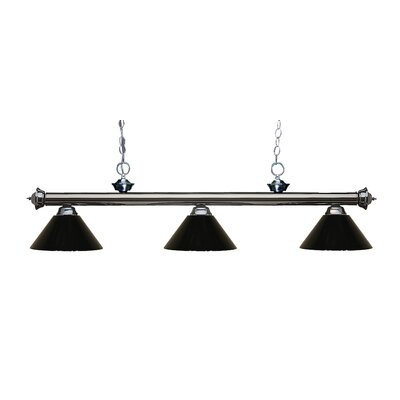 Zephyr Modern 3-Light Steel Billiard Light Shade Color: Black, Finish: Gun Metal