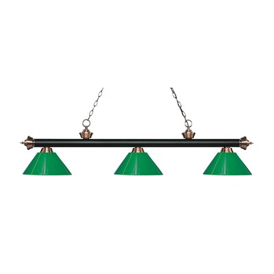Zephyr 3-Light Adjustable Billiard Light Finish: Matte Black / Antique Copper, Shade Color: Green, Size: 14.25 H x 57 W x 14 D