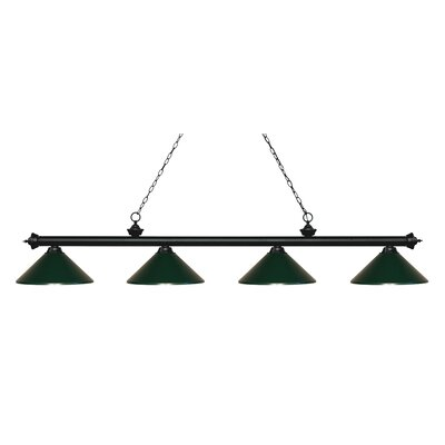 Zephyr 4-Light Cone Metal Shade Billiard Light Shade Color: Dark Green, Finish: Matte Black