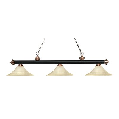Zephyr 3-Light Bell Shade Billiard Light Finish: Matte Black / Antique Copper, Shade Color: Golden Mottle