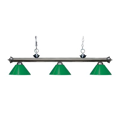 Zephyr Modern 3-Light Steel Billiard Light Finish: Gun Metal, Shade Color: Green