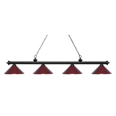 Zephyr 4-Light Cone Metal Shade Billiard Light Shade Color: Dark Wine, Finish: Matte Black