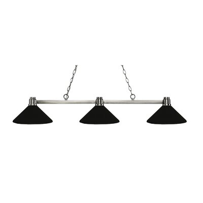 Park 3-Light Billiard Light Finish: Brushed Nickel, Shade Color: Matte Black