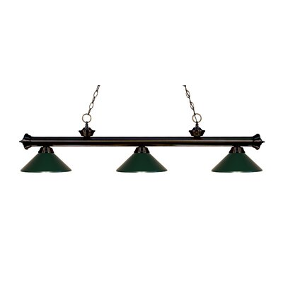 Zephyr Traditional 3-Light Billiard Light Shade Color: Dark Green, Finish: Bronze