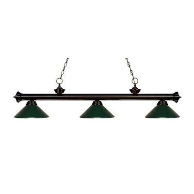 Zephyr Traditional 3-Light Billiard Light Finish: Bronze, Shade Color: Dark Green