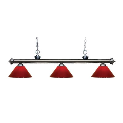 Zephyr Modern 3-Light Steel Billiard Light Finish: Gun Metal, Shade Color: Red