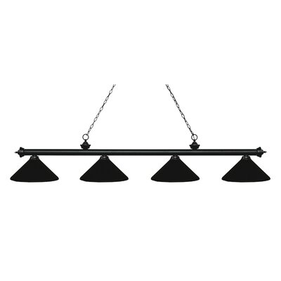 Zephyr 4-Light Cone Metal Shade Billiard Light Finish: Matte Black, Shade Color: Matte Black