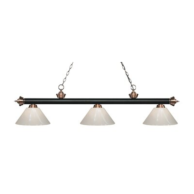 Zephyr 3-Light Adjustable Billiard Light Finish: Matte Black / Antique Copper, Shade Color: White, Size: 14.25 H x 57 W x 14 D