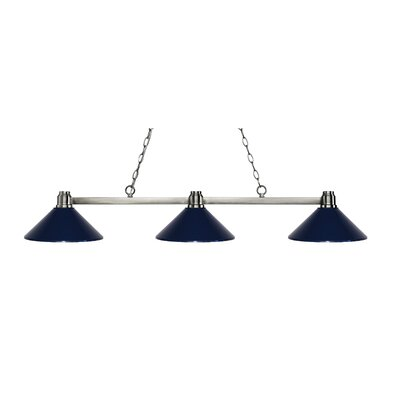 Park 3-Light Billiard Light Finish: Brushed Nickel, Shade Color: Navy Blue