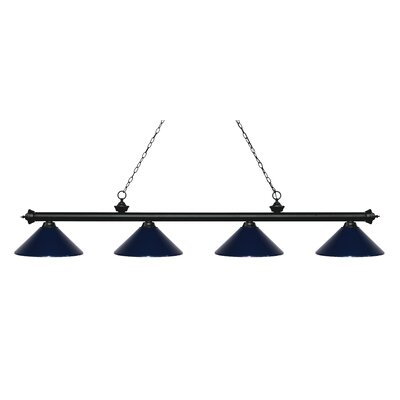 Zephyr 4-Light Cone Metal Shade Billiard Light Finish: Matte Black, Shade Color: Navy Blue