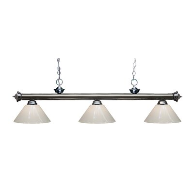 Zephyr Modern 3-Light Steel Billiard Light Finish: Gun Metal, Shade Color: White