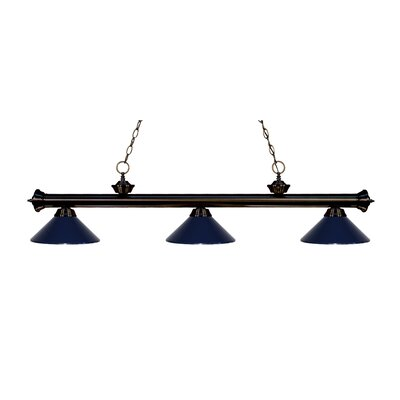 Zephyr Traditional 3-Light Billiard Light Finish: Bronze, Shade Color: Navy Blue