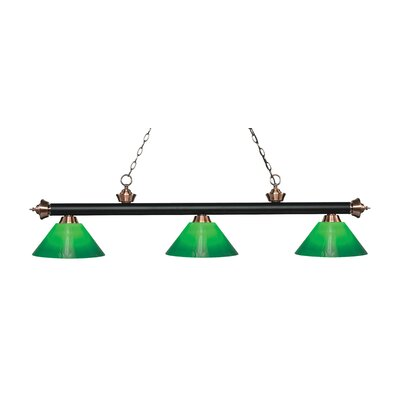 Zephyr 3-Light Billiard Light Finish: Matte Black / Antique Copper, Shade Color: Green Cased, Size: 14.5 H x 57 W x 14 D