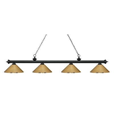 Zephyr 4-Light Cone Metal Shade Billiard Light Finish: Matte Black, Shade Color: Polished Brass