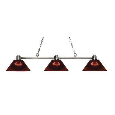 Park 3-Light Kitchen Island Pendant Finish: Brushed Nickel, Shade Color: Burgundy