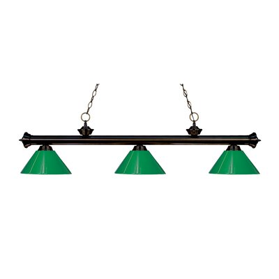 Zephyr Modern 3-Light Steel Billiard Light Finish: Bronze, Shade Color: Green