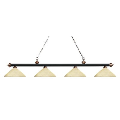 Zephyr 4-Light Cone Glass Shade Billiard Light with Hanging Chain Shade Color: Golden Mottle, Finish: Matte Black / Antique Copper