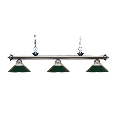 Zephyr 3-Light Incandescent Billiard Light Finish: Gun Metal, Shade Color: Dark Green