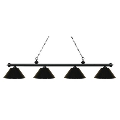Zephyr 4-Light Cone Shade Billiard Light Shade Color: Black, Finish: Matte Black