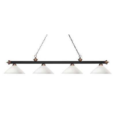 Zephyr 4-Light Cone Glass Shade Billiard Light with Hanging Chain Finish: Matte Black / Antique Copper, Shade Color: Matte Opal