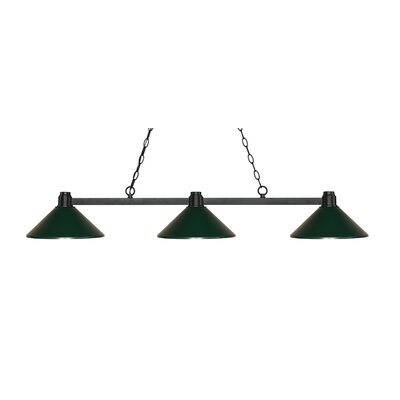 Park 3-Light Billiard Light Shade Color: Dark Green, Finish: Bronze