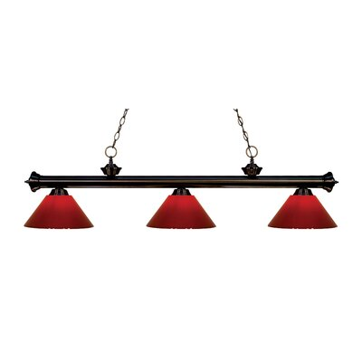 Zephyr Modern 3-Light Steel Billiard Light Finish: Bronze, Shade Color: Red