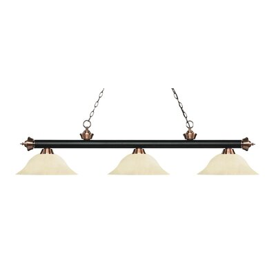 Zephyr 3-Light Billiard Light Finish: Matte Black / Antique Copper, Shade Color: Golden Mottle, Size: 13.5 H x 59 W x 16 D