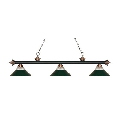 Riviera 3-Light Billiard Light Finish: Matte Black / Antique Copper, Shade Color: Dark Green